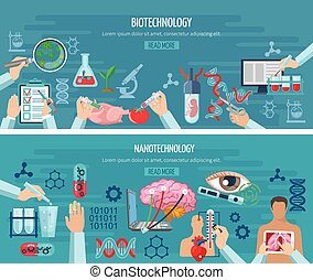 Horizontal Biotechnology And Nanotechnology Banners -...