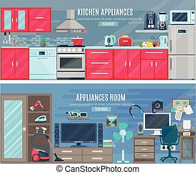 Household  Horizontal Banners With Electronic And Digital Appliances