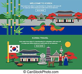 Korean Culture Travel Horizontal Banners Set - Welcome to...