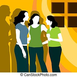 Party - Silhouette of three ladies standing in yellow beam...