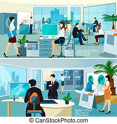 Office Compositions With Working People - Flat color...