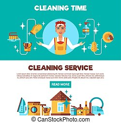 Clening Service 2 Flat Banners Set - Housekeeping full...