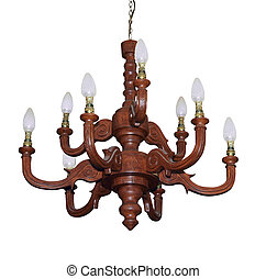 Carved Macrocarpa Chandelier isolated with clipping path...