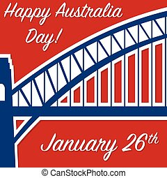 Harbour bridge sticker Australia Day card in vector format