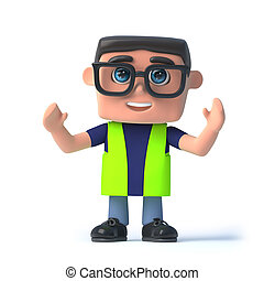 3d Health and safety officer cheers - 3d render of a health...