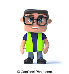 3d Health and safety officer - 3d render of a health and...