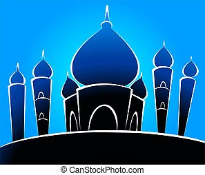 Mosque - Illustrations of a mosque in blue background