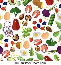 Healthy eating pattern. Potato cucumber, beetroot and eggs,...