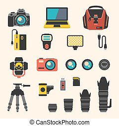 Photographer kit with camera elements. Vector flat icons set