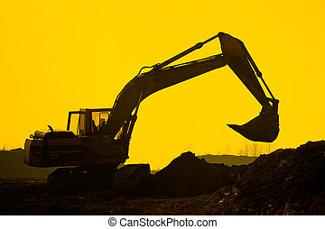 silhouette excavator - Silhouette excavator on construction...