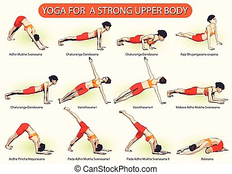 YOGA For Strong Upper Body - Tutorial of a set of female...
