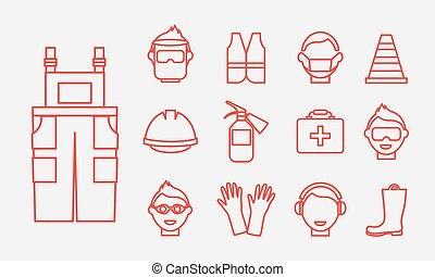 Safety at work Job safety line icons vector set Protective...