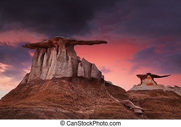 Bisti Badlands, New Mexico, USA - The Wings, bizarre rock...