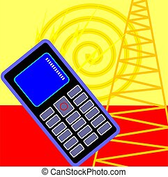 Mobilephone - Illustration of a mobilephone and tower