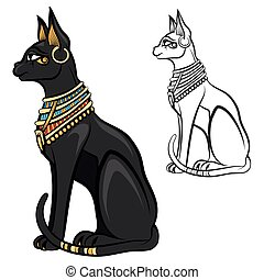 Egypt cat goddess bastet vector - Egypt cat goddess bastet...