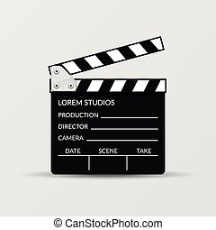 Realistic vector movie clapperboard for cinema,...