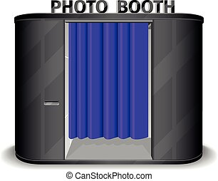 Black photo booth vending machine. Vector illustration -...