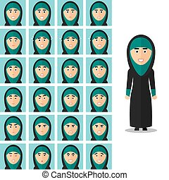 Face emotions of arab woman. Vector set in flat style