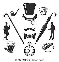 Vintage gentlemen symbols vector - Vintage gentlemen symbols...