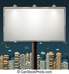 Blank billboard at night time. Advertise commercial, outdoor...