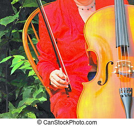Cellist hands - Female cellist performing outdoors
