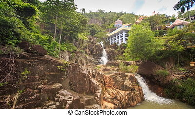 Waterfalls Cascade on Mountain River Green Slopes Houses -...