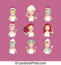 Women in Beaty Saloon. Flat Vector Illustration - Women in...