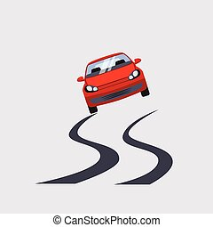 Car Insurance and Unsafe Drive Risk Vector Illustration -...
