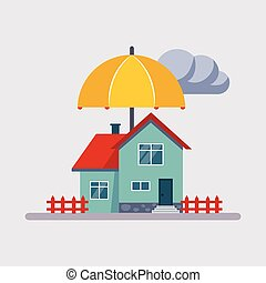 House Insurance Vector Illustartion - House Insurance...