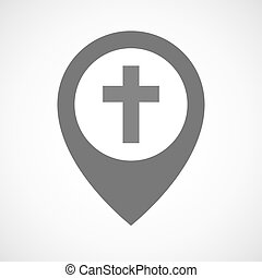 Isolated map marker with a christian cross - Illustration of...