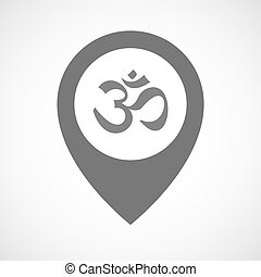 Isolated map marker with an om sign - Illustration of an...
