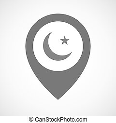 Isolated map marker with an islam sign - Illustration of an...