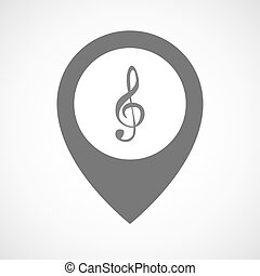 Isolated map marker with a g clef - Illustration of an...