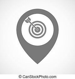 Isolated map marker with a dart board - Illustration of an...