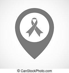 Isolated map marker with an awareness ribbon