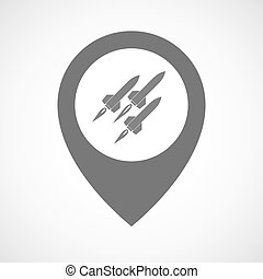 Isolated map marker with missiles - Illustration of an...