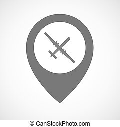 Isolated map marker with a war drone - Illustration of an...
