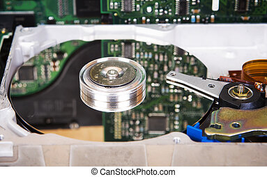 Detailed view of hard disk drive inside - Close-up opened...