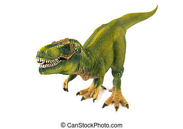Tyrannosaur dinosaur plastic model on white background