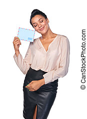 Happy woman with mail - Happy woman holding envelope and...