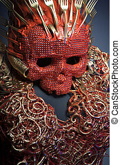 nightmare, bright red skull handmade fantasy warrior costume...