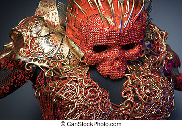 halloween, bright red skull handmade fantasy warrior costume...