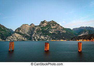 Beautiful landscape with lake and mountains (Lago di Garda...