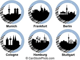 Icon set german cities - Vector icon set with skyline of...