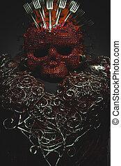 evil, bright red skull handmade fantasy warrior costume with...