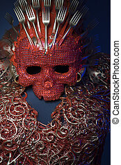 fashion bright red skull handmade fantasy warrior costume...
