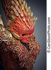 nightmare, bright red skull handmade fantasy warrior costume...