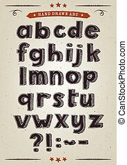 Hand Drawn Alphabet Set - Illustration of a set of hand...