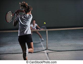 joven, niñas, juego, tenis, juego, interior
