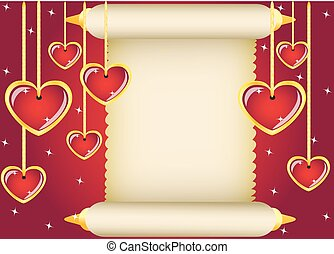 scroll and hearts - gold scroll and hanging hearts on red...